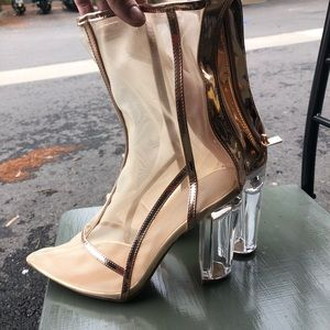 Mesh nude boots